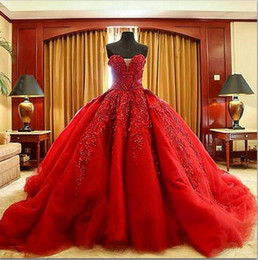 Wholesale Gold Floral - Michael Cinco Luxury Ball Gown Red Wedding Dresses Lace Top quality Beaded Sweetheart Sweep Train Gothic Wedding Dress Civil vestido de 2016