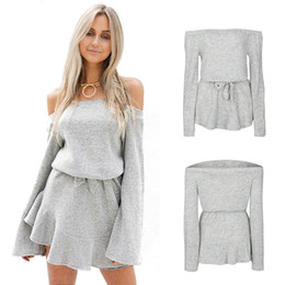 Wholesale Strapless Empire Waist Short Dress - 2017 Fall Winter Short Party Dresses with Elastic Waist Sexy Women Off Shoulder Knitted Strapless Dress Oversized ZL3430