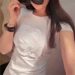 Wholesale bell sleeve xs - Wholesale-2016 Newest women summer 3d camellia embroidery luxury t shirt ladies fashion tops slim casual tee shirts vetement femal