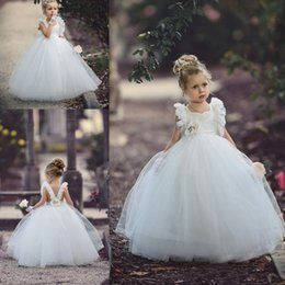 Wholesale Dres For Kids - 2017 Lovely Flower Girl Dresses For Weddings Cross Belt Open Back Tulle Ball Gown Teens Formal Wear Cute Kids Communication Dres