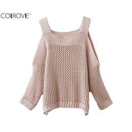 Wholesale Plain Pullover Sweater - Wholesale-COLROVE 2016 Autumn Plain Jumpers Cold Shoulder Gigot Sleeve Knitter Wear Pullovers Casual Style Sweater