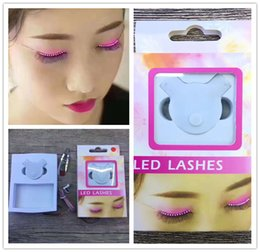 Wholesale interactive retail - LED Eyelashes Women Sparkle F. Lashes Interactive For Party Concert Festival Gift Female Eyelash With Retail Package Cradle