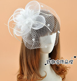 Wholesale Fascinator Birdcage Black Veil - Free Shipping Hot Sale White Black Red Birdcage Net Bridal Veils Wedding Bridal Fascinator Face Veils Feather Flower with Hairpins