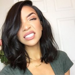 Wholesale Wavy Short Wig - Lace Front Human Hair Wigs Short Bob Wig Wavy 150 Density Brazilian Virgin Hair With Baby Hair Bleached Knots Full Lace Wigs Glueless