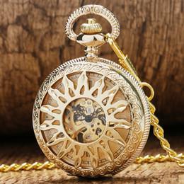 Wholesale New Mechanical Skeleton Pendant Watch - Wholesale-Luxury New Golden Hollow Flower Sun Case Design With Roman Number Dial Skeleton Mechanical Pendant Pocket Watch For Men Women
