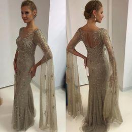 Wholesale Long Sparkle Dresses - Sparkling Silver Long Sleeves Evening Dresses 2017 Vestido De Festa Beaded Shiny Crystal Long Mermaid Prom Dresses