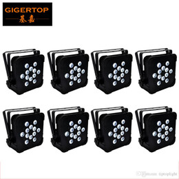 Wholesale Discounted Led Light Bars - Discount Price 8 Pack 12X12W RGBW 150W LED Flat Par Light DMX 512 Control Party Disco Xmas Bar DJ Stage Lighting Silence Working