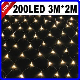 Wholesale String Lights Mesh - Wholesale-3M*2M 200 LED 9 Colors Wedding New Year Navidad Net Mesh Garland LED Christmas String Fairy Outdoor Decoration Light HK C-36