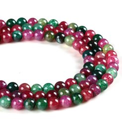 Wholesale Bracelet Tourmaline Beads Natural - Top quality Natural Agate Stone Tourmaline agate beads Colorful Round Loose beads ball 4 6 8 10 12MM Jewelry bracelet making DIY