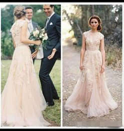 Wholesale Cheap Long Sleeve Ball Dress - Blush Arabic Wedding Dresses V neck short sleeve vintage Beach Simple Wedding Gowns Applique Cheap Bridal ball Gowns bohemian pink cheap