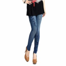 Wholesale Low Price Leggings - Wholesale- LOWEST PRICE Sexy Women Stretch Faux Denim Jeans Leggings Skinny Slim