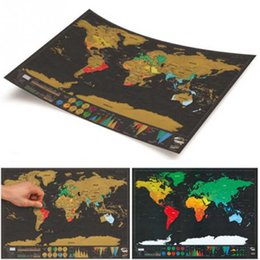 Wholesale Fun Piece - Creative Gift Scratch World Travel Map Deluxe Edition Vintage Retro Decorative Poster Geography Teaching Fun Toy Best Christmas Child gift