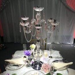 Wholesale Design Candles - New design 90cm height Acrylic 5-arms alloy wedding candelabras with crystal pendants silver plated candle holder