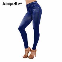 Wholesale Seamless Sexy Leggings - Wholesale- 2017 Jampelle Lady Denim High Waist Jeans Seamless Sexy Women Jeans Skinny Stretch Slim Pencil Pants Leggings Skinny Pants