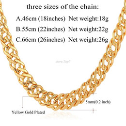 Wholesale Italian Cross - Male Chain Necklace Trendy Jewelry Wholesale 5MM Gold Silver Rose Gold Black Color Italian Link Chain Necklace Men Gift N357