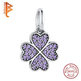 Wholesale Silver Purple Crystal Necklace - BELAWANG Authentic 925 Sterling Silver Crystal Heart Charm Clover Purple Cubic Zirconia Beads Fit Original Bracelet&Necklace Fashion Jewelry