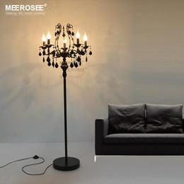 Wholesale Floor Standing Candelabra - Rustic Lamp 5 Lights Crystal Floor Lamp Floor Stand Light Fixture Cristal Lustre de Cristal Candelabra Standing Lamp Centerpiece