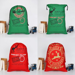 Wholesale Drawstring Backpack Green - Christmas Drawstring Bags Santa Sack Backpack for Party Favors Gift and Candy Green Red Color Gift Bags For Thanksgiving Christmas Festival