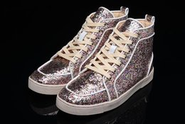 Wholesale Pink Dress Shoes For Men - 2017 New Fashion High Top Multicolored Glitter Casua Shoes For Men Women Top Qulity Pink good Genuine Leather Dress Shoes sneaker