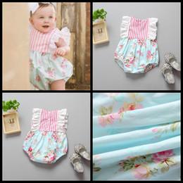 Mamadeira floral de uma peça on-line-Bebê recém-nascido floral macacão com manga de renda bebê meninas de algodão de uma peça romper criança infantil macacões crianças roupas