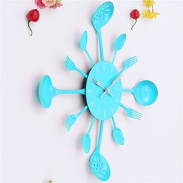 Wholesale Diy Wall Clock Metal - Wholesale- Metal Kitchen Cutlery Utensil Quartz DIY Wall Clock Spoon Fork Ladel Home Christmas Decor A great gift Colorful Free Shipping
