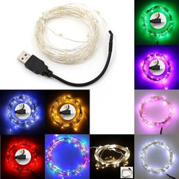 Wholesale Solar Powered Jar - 2017 led string lights 5M 10M 50 100led 5V USB powered outdoor Warm white RGB Silver wire christmas festival wedding party decoration