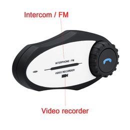 Wholesale Motorcycle Helmets Camera - Wholesale- Motorbike Handsfree BT Interphone MP3 FM Radio 720P Video Recorder Camera Motorcycle Helmet Intercom Bluetooth Headset