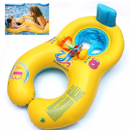 Wholesale Pool Inflatable Baby Float - NEW Safe Soft Inflatable Mother Baby Swim Float Ring Kids Seat Double Person Swimming Pool, Blue Yellow fish printing rings for toddlers