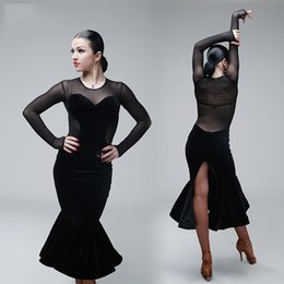Wholesale Latin Style Dresses Skirts - 2017 New Sexy Woman Lady Latin Dance Dress Black Latest Style Performance Wear Lady Latin Dance Skirt Female Latin Dance Dress