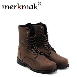 Wholesale Combat Boots For Men - Wholesale-British Style Retro Punk Combat Men's Winter Boots Fashion Two Color for Man Comfortable Cool Shoes New Fashion