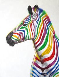 mão zebra lona de pintura a óleo Desconto Sem moldura Pintados À Mão Pintura A Óleo sobre Tela Colorido Zebra Arte Animais Imagem Arte Da Parede Decoração de Casa para Sala de estar
