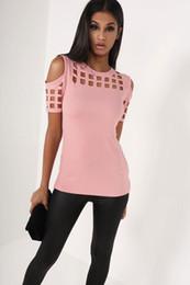 Wholesale Puff Shoulder Tops - 4 Colors Women's Short Sleeve Shirts Tops Bodycon Hollow Out Block Cold Shoulder Cotton Shirts Slim