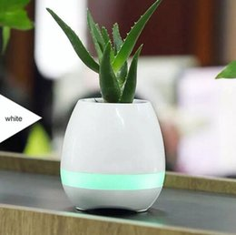 Wholesale Wholesale For Night Stands - 2017 Portable speaker Smart Touch Music Flower Pot with Bluetooth Speakers and Colorful Night Light Music Plant Lamp