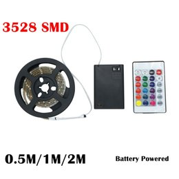 Wholesale 1m 3528 Smd - Battery Powered 3528 SMD RGB LED Strip Light RGB 0.5M 1M 2M IP65 With 24Keys RGB Remote Controller