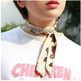 Wholesale Wholesale Rhinestone Necklace Scarf - 2018 New fashion Printed Scarves small square Ring scarf Chokers Necklaces fish bone Rhinestones diamonds Chokers for Women Jewelry Gifts