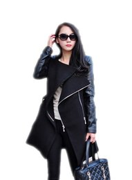 Wholesale Trench Coat Femme - Autumn Winter Spliced Pu Leather Sleeves Long Coat Female Slim Patchwork Trench Women Manteau Femme Casacos AWC0006