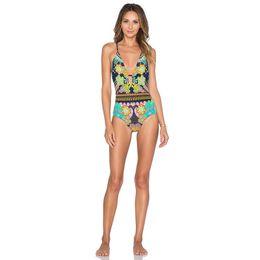 Wholesale Swimming Suit V - Sexy Deep V One Piece Swimsuit Backless Printing Swimming Suit 2017 New Trikini Monokini Beachwear Swim Wear