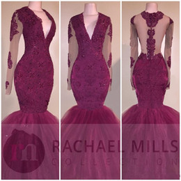 Wholesale Open Back Pageant Dresses - 2017 New Sexy Mermaid Prom Dresses V Neck Lace Crystal Beaded Long Sleeves Burgundy Open Sheer Back Evening Dress Party Pageant Formal Gowns