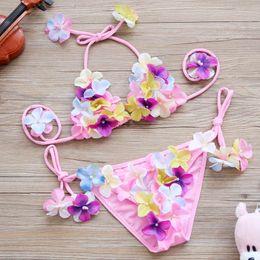 Wholesale children girls green bikini - 2017 new Children Swimwear pretty cute flower Girls Bikini Kids Bathing Suits baby two-piece swimming suit Child Sets Beachwear A585