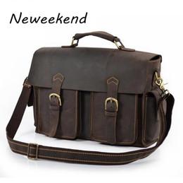 Wholesale Vintage Mens Leather Briefcase - Wholesale- Mens Man bag,genuine leather briefcase,document bag,messenger bag,laptop case,ipad case,cowhide,vintage style,new,brown,XNK2001