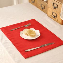 Wholesale Deck Pads - Wholesale- 1 pcs Red Cotton Linen Mat Double Deck Solid Pads Table Cloth Insulation Table Mats 40x30cm Kitchen Accessories