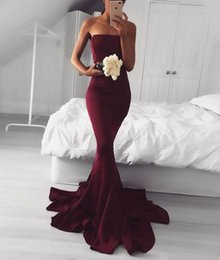 Wholesale Strapless Evening Dress Mermaid - Evening Dress 2017 Sexy Simple Strapless Sleeveless Mermaid Long Burgundy Prom Dress
