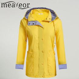 Wholesale Trench Coat Waterproof Woman - Wholesale- Meaneor Women Casual Waterproof Autumn Raincoat Regenjas Hooded Trench Coat Adjustable Drawstring Pocket Winter Windbreaker