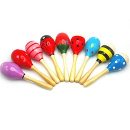 Wholesale Instrument Rattle - 11CM Random Color Baby Kid Wood Wooden Maraca Rattles Kid Musical Party Educational Child Baby Shaker Musical Instrument Toy F15