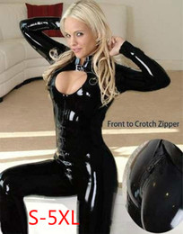 Wholesale Sexy Catsuit Zipper - Hot Sexy Lady Black Faux Leather Catsuit Low Cut Jumpsuit Open Crotch With Two Zippers Wetlook Leotard Bodysuit Night Clubwear Costume