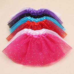 Wholesale Kids Wearing Mini Skirts - Baby Girl Tutu Skirts Star Glitter Princess Party Skirt Sequins Dancing Tulle Skirt Girls Ballet Dance wear Skirts Dress Kids Clothing