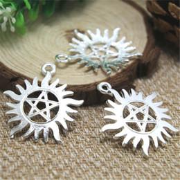 Wholesale Pentagram Silver Charm - 6pcs-- supernatural pentagram Charms Silver plated supernatural pentagram charms pendants 39x35mm