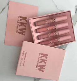 Wholesale Blue Lipsticks - Retail KKW X KYLIE collaboration Set Of 4 Creme Liquid Lipsticks Pink Kimberly kim kiki kimmie collection Factory price gift Free shipping