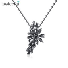 Wholesale Cutting Brass - LUOTEEMI Best Lady Luxury Marquise Cut Black Cubic Zirconia Pendant Necklace For Women Charm Necklace Jewellery
