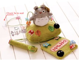 Wholesale Roll Paper Racks - Wholesale- Creative cute totoro plush dolls Cartoon chuck hanging towel roll of paper paper towel rack tissue canister